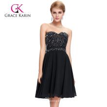 Grace Karin 2016 sin tirantes gasa escote corazón sin mangas rebordeado negro corto Prom Dresses GK000089-1