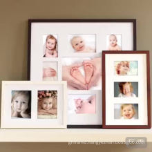 Wall mounted black newborn collage 9 photos picture frame