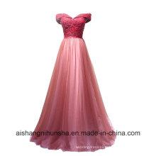 Women Lace Bride Banquet Sweetheart Boat Neck Floor-Length Evening Dress