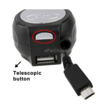 Micro USB Retractable Cable Car Charger with USB Output & Retractable