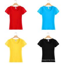 Camiseta de calidad superior ajustada barata de la camiseta de la muchacha del algodón de la manera