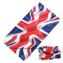 Benutzerdefinierte Werbeartikel Polyester Mikrofaser Multifunktionale England Großbritannien Flagge gedruckt Outdoor Biker Kopftuch