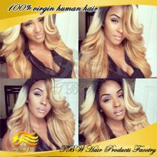 Оптовая заводская цена цвет #1В/ 613# девственница бразильский супер волна парик шнурка блондинка