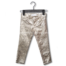 fashion shiny silver snake print pants