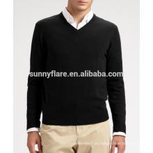 Suéter de cachemira visón de punto de alta calidad hecho punto de los hombres