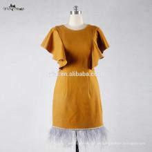 RSE694 Gelb Crepe Stoff Kleid Material Kurz Straußen Feder Knie Länge Real Bilder von Cocktailkleid