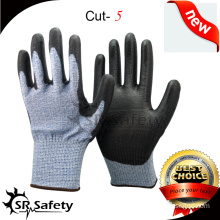 SRSAFETY 13G Knitted Cut Resistant Glove With PU Palm Coating/ Cut Resistant safety gloves/PU Coated HHPE Cut-Resistant Gloves