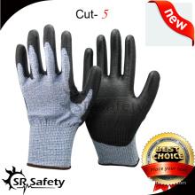 SRSAFETY 13G трикотажная резинка с устойчивой устойчивостью к пермам с покрытием из пальмовой пленки PU / стойкие защитные перчатки / полиуретановые защитные перчатки HHPE