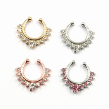 Clear CZ Non Piercing bijoux en cloison Clip On Hanger Fake Nose Ring