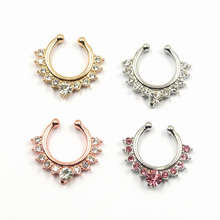 Clear CZ Non Piercing septum jewelry Clip On Hanger Fake Nose Ring