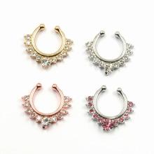 Clear CZ Non Piercing septo jóias clip no gancho Anel nariz falso