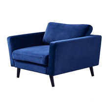 Home Lounge Armchair Furniture Single Arm Couch Navy Blue Fabric Velvet Modern 1 Seater Sofa