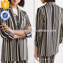 Oficial preto e branco listrado algodão manga comprida blazer jaqueta fabricação atacado moda feminina vestuário (ta0006j)