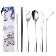 Cutlery set spoon fork knife straw set