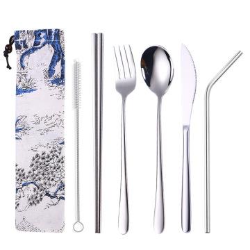 Juego de cubiertos cuchara tenedor cuchillo conjunto de paja