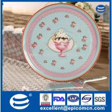 Pastel de porcelana de estilo turco conjunto decorado dulce 10.5 '' placa de la torta con el servidor