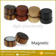 Kundengebundenes sortiertes nicht durchbohrendes natürliches Holz-gefälschte magnetische Ohrringe