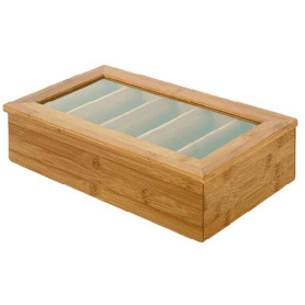 Bamboo Tea Bag Storage Box with 5 compartments