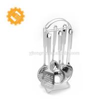 Sistema clásico de alta calidad del utensilio de la cocina del acero inoxidable del diseño 7pcs con el tenedor del almacenamiento