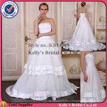 без бретелек плиссированные bodice слоев юбка королевский синий и белый свадебные платья