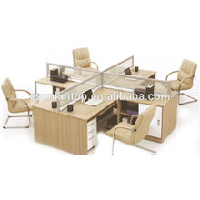 The cross screen office desk, Teak wood desk finishing (KW826)
