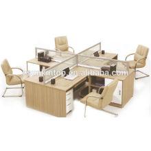 Офисный стол с крестовым экраном, отделка стола из дерева из тикового дерева (KW826)