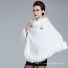 Lady Fashion Faux Fur Knitted Winter Shawl Poncho (YKY4456)