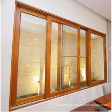 brown color aluminum windows with grills design
