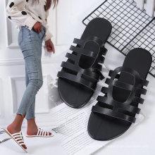 Wholesale Set Toe Plus Size Lady Sandal Comfortable Summer Flat Sandal Shoes Womens Plain Black Slide Sandals