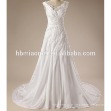 Las correas de espagueti de lujo ataban el vestido de boda atractivo para la novia madura con la cola pequeña
