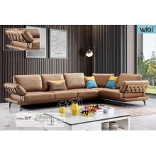 Conjunto de sofá artístico de couro para sala de estar