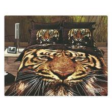 100% cotton 40s 133*72 reactive printed 3d tiger print bedding set