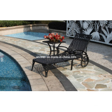 Cast Aluminium Sunlounger Outdoor Patio Garden Metal Furniture