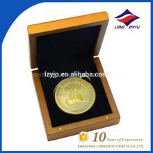 3D personalizado metal personalizado moneda de oro antigua con cajas