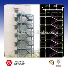 escaleras de escape de acero prefabricadas al aire libre