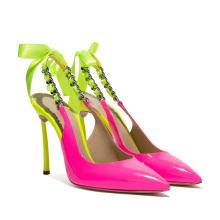 PU Lining Material Slingback Heels Slip on Sexy High Heels Shoes Ladies
