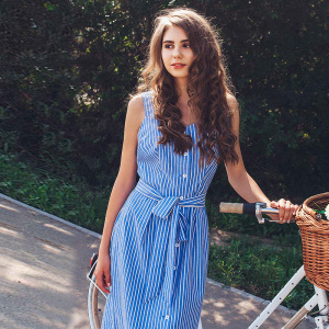 Blue Striped Dress Bow Bandage Sexy Summer Off Shoulder Women Party Dresses Single-Breasted Midi Elegant Shirt Dress