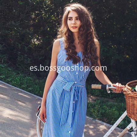 Vestido de rayas azul del vendaje del arco Vestido de verano sexy fuera del hombro de las mujeres Vestido de camisa simple de Midi con un solo pecho