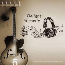 Chegada nova Música Fone de Ouvido Design Adesivos Decorativos À Prova D 'Água Pvc Room Decor adesivo de Parede de vinil