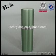 3.5ml vide tube verre bouteille de parfum atomiseur, forme de coeur vert bouteille de parfum de pulvérisation, bouteille de parfum de luxe entier