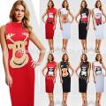 Европейский Стиль чистый Цвет средний-икры тонкий-линии олень Пингвин Дед Мороз Женская одежда печать платье