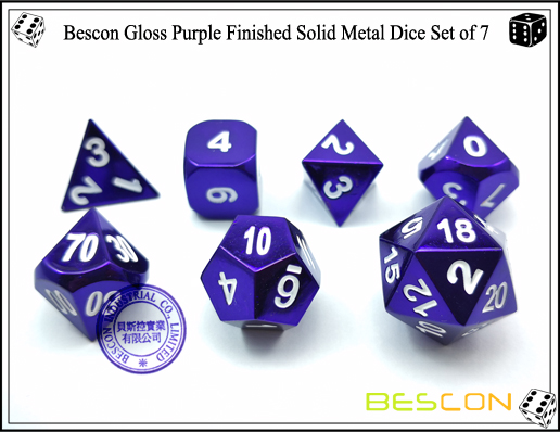 Bescon Gloss Purple Finished Solid Metal Dice Set of 7-6
