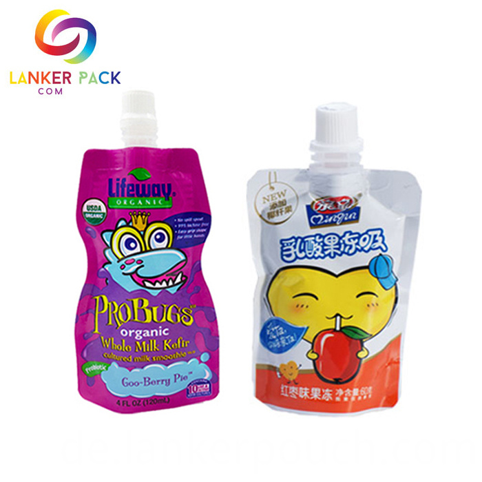 Reusable Mylar Stand Up Juice Drink Spout Pouch