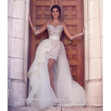 Long Sleeve Lace With Tulle Detachable Skirt Wedding Dresses 2016 Vestido De Noiva Sexy Beach Bridal Gowns CWF2430
