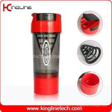 Bouteille en plastique de shaker de 600 ml avec filtre et récipients (KL-7008)