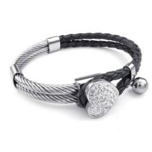 Alambre de acero con pulsera de cuero negro para mujer