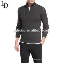 Pull en laine design 1/4 pull zippé en laine pull à col roulé