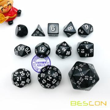 12pcs Polyhedral Dice Set D3-D60 60 Sides Dice Set D3 D4 D6 D8 D10 D100 D12 D20 D24 D30 D50 D60 RPG Dice Set Black Color
