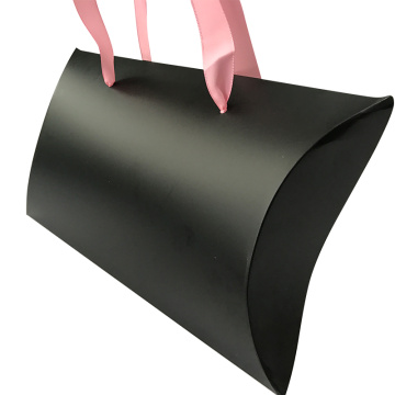 Pink Ribbon Custom Logo Paper Pillow Box