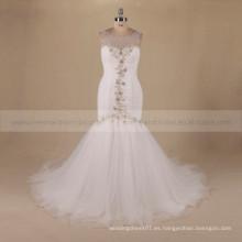 Collar clásico cuello de sirena trasera trasera flores de flores plisado vestido de fiesta de la boda